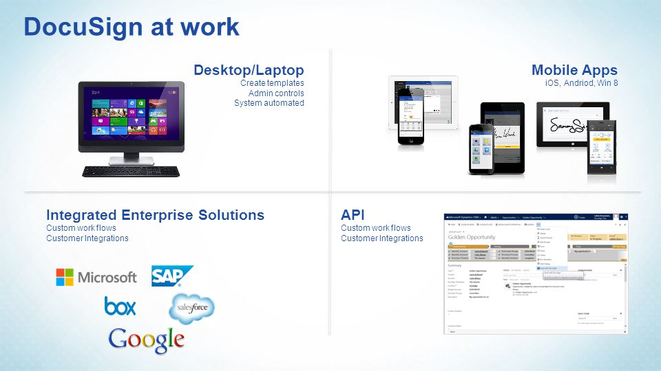 DocuSign at work Mobile Apps iOS, Andriod, Win 8 Desktop/Laptop Create templates Admin controls System automated API Custom work flows Customer Integr