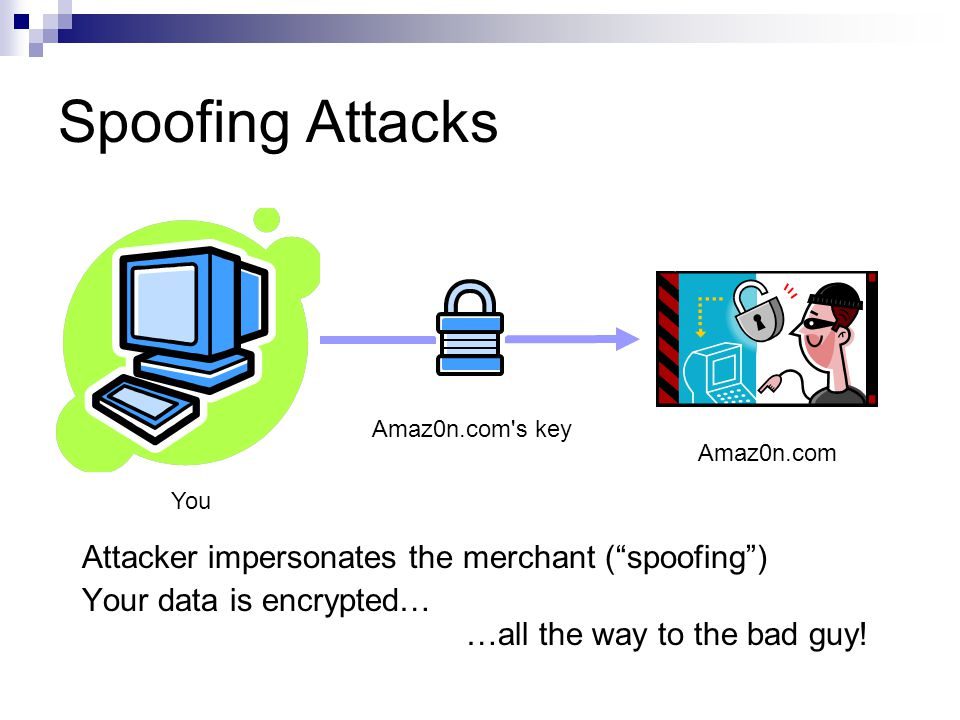 Spoofing Attacks You Amaz0n.com Attacker impersonates the merchant ( spoofing ) Your data is encrypted… …all the way to the bad guy.