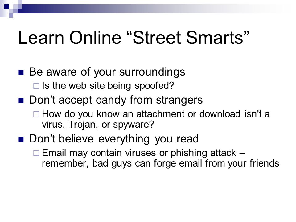 Learn Online Street Smarts Be aware of your surroundings  Is the web site being spoofed.