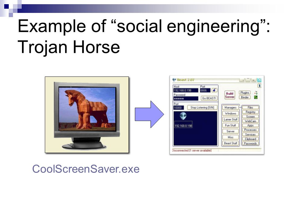 Example of social engineering : Trojan Horse CoolScreenSaver.exe