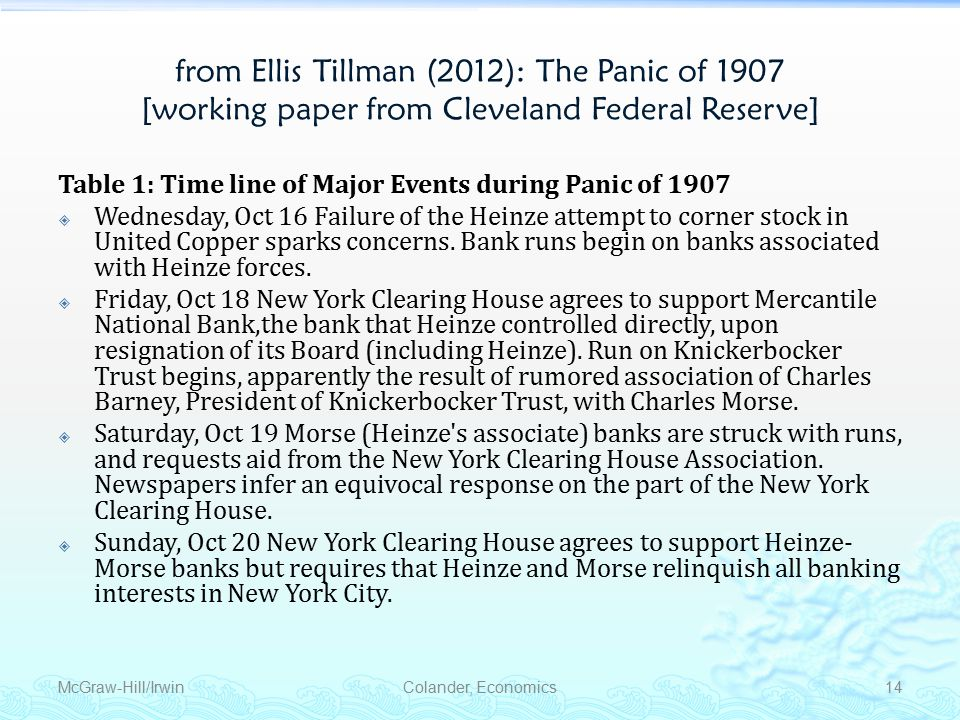Monetary Policy from Ellis Tillman (2012): The Panic of 1907 [working paper from Cleveland Federal Reserve] Table 1: Time line of Major Events during Panic of 1907  Wednesday, Oct 16 Failure of the Heinze attempt to corner stock in United Copper sparks concerns.