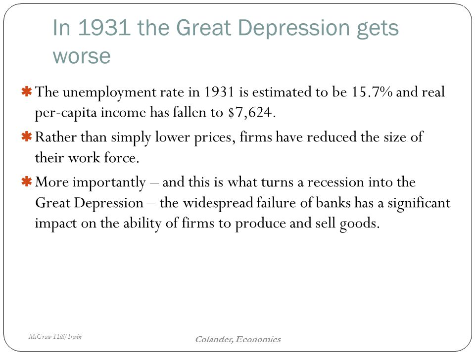 McGraw-Hill/Irwin The Fiscal Policy Dilemma 16 Colander, Economics In 1931 the Great Depression gets worse  The unemployment rate in 1931 is estimated to be 15.7% and real per-capita income has fallen to $7,624.