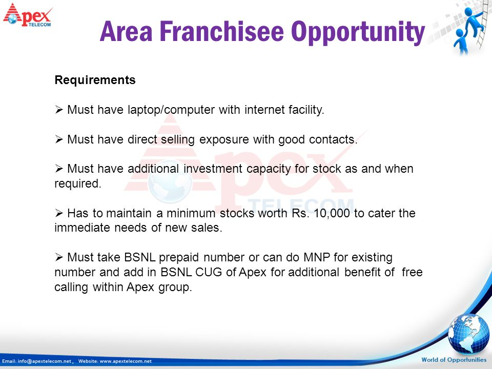 Area Franchisee Opportunity Requirements  Must have laptop/computer with internet facility.  Must have direct selling exposure with good contacts. 