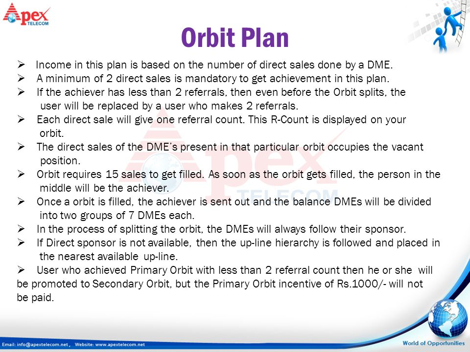 Orbit Plan  Income in this plan is based on the number of direct sales done by a DME.  A minimum of 2 direct sales is mandatory to get achievement i
