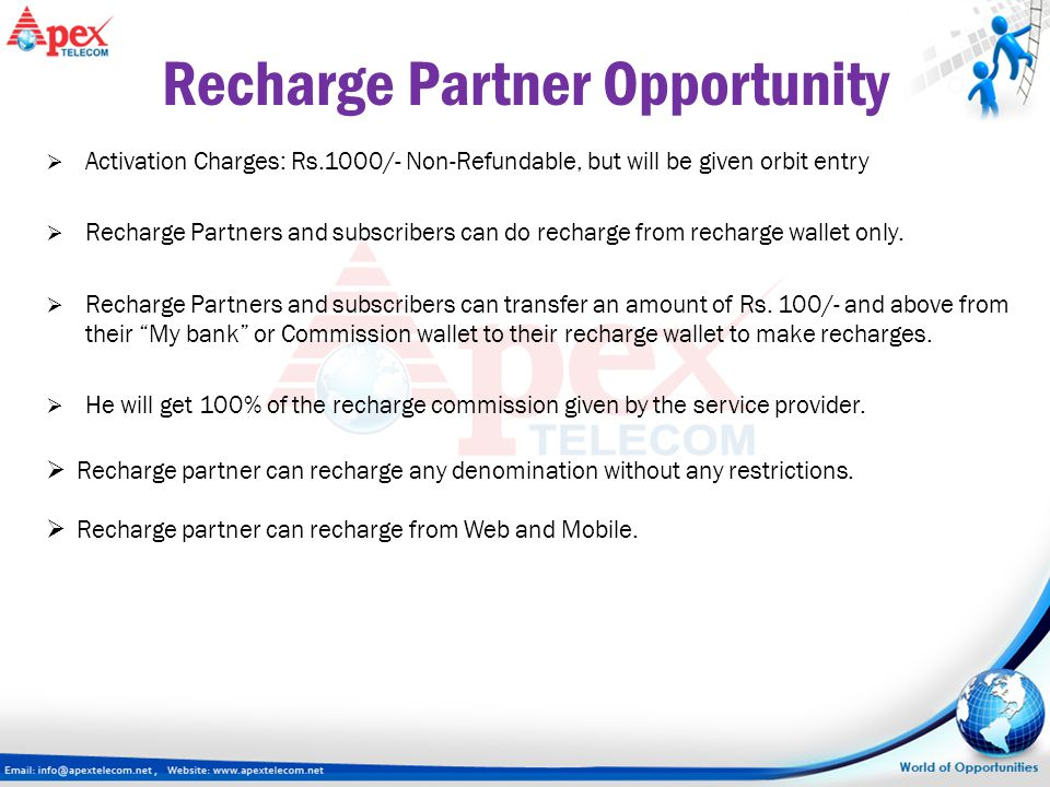  Activation Charges: Rs.1000/- Non-Refundable, but will be given orbit entry  Recharge Partners and subscribers can do recharge from recharge wallet