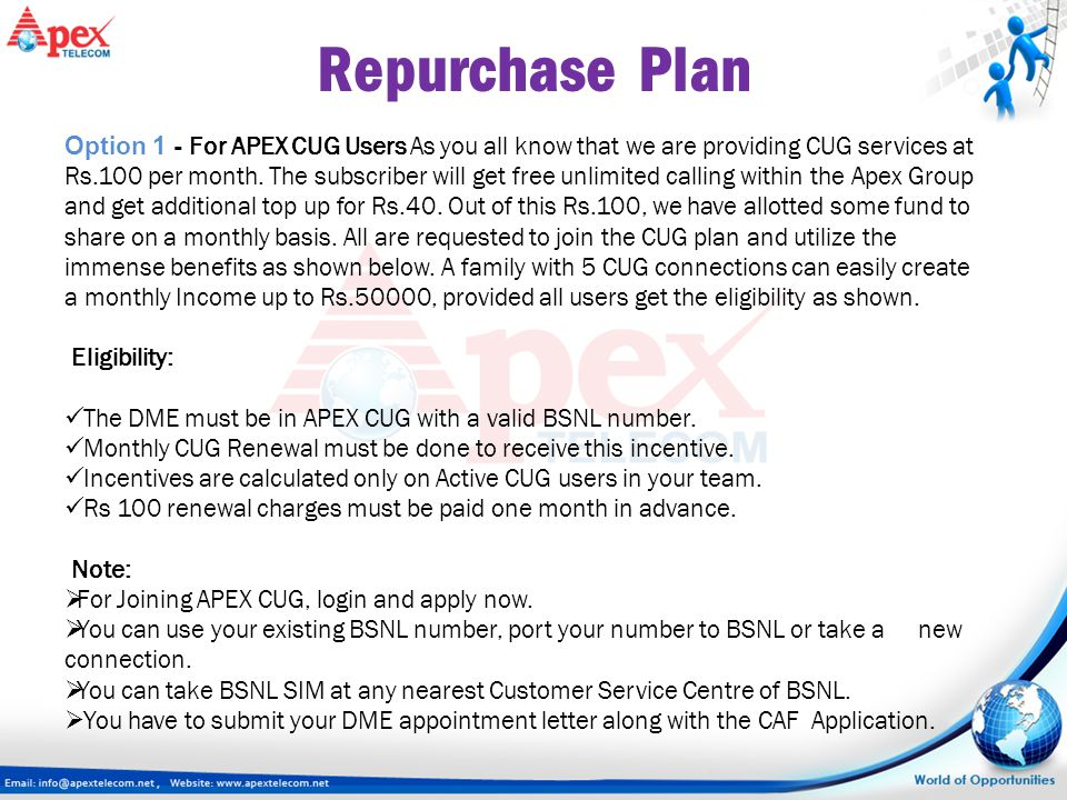 Repurchase Plan Option 1 - For APEX CUG Users As you all know that we are providing CUG services at Rs.100 per month. The subscriber will get free unl
