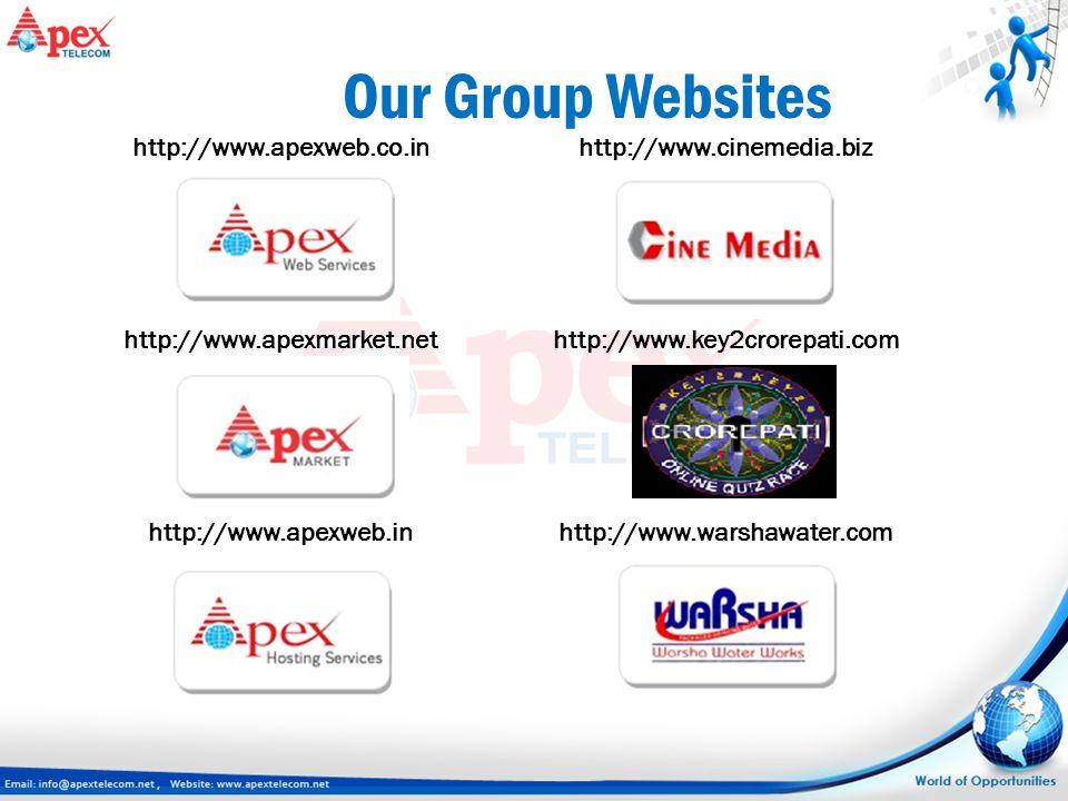http://www.cinemedia.biz http://www.key2crorepati.com http://www.warshawater.com Our Group Websites http://www.apexweb.co.in http://www.apexmarket.net