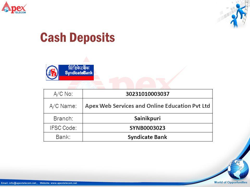 A/C No: 30231010003037 A/C Name: Apex Web Services and Online Education Pvt Ltd Branch: Sainikpuri IFSC Code: SYNB0003023 Bank: Syndicate Bank Cash De