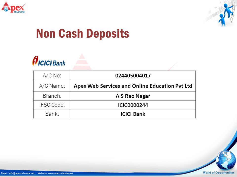 A/C No: 024405004017 A/C Name: Apex Web Services and Online Education Pvt Ltd Branch: A S Rao Nagar IFSC Code: ICIC0000244 Bank: ICICI Bank Non Cash D