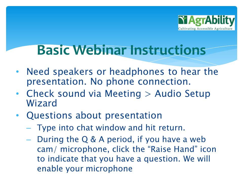 Need speakers or headphones to hear the presentation.