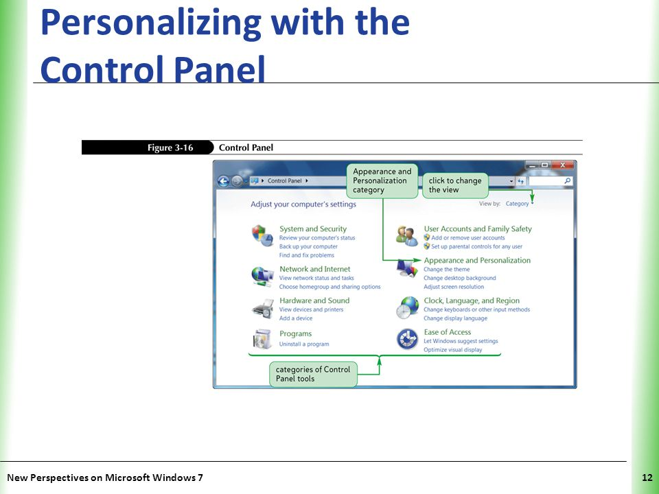 XP Personalizing with the Control Panel New Perspectives on Microsoft Windows 712