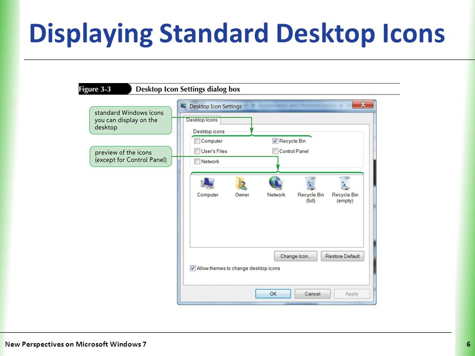 XP Using Windows Gadgets Gadgets offer information at a glance and offer similar tools to those you might find on a physical desk: – Calendar – Clock – CPU Meter – Currency – Feed Headlines New Perspectives on Microsoft Windows 77 – Picture Puzzle – Slide Show – Weather – Windows Media Center