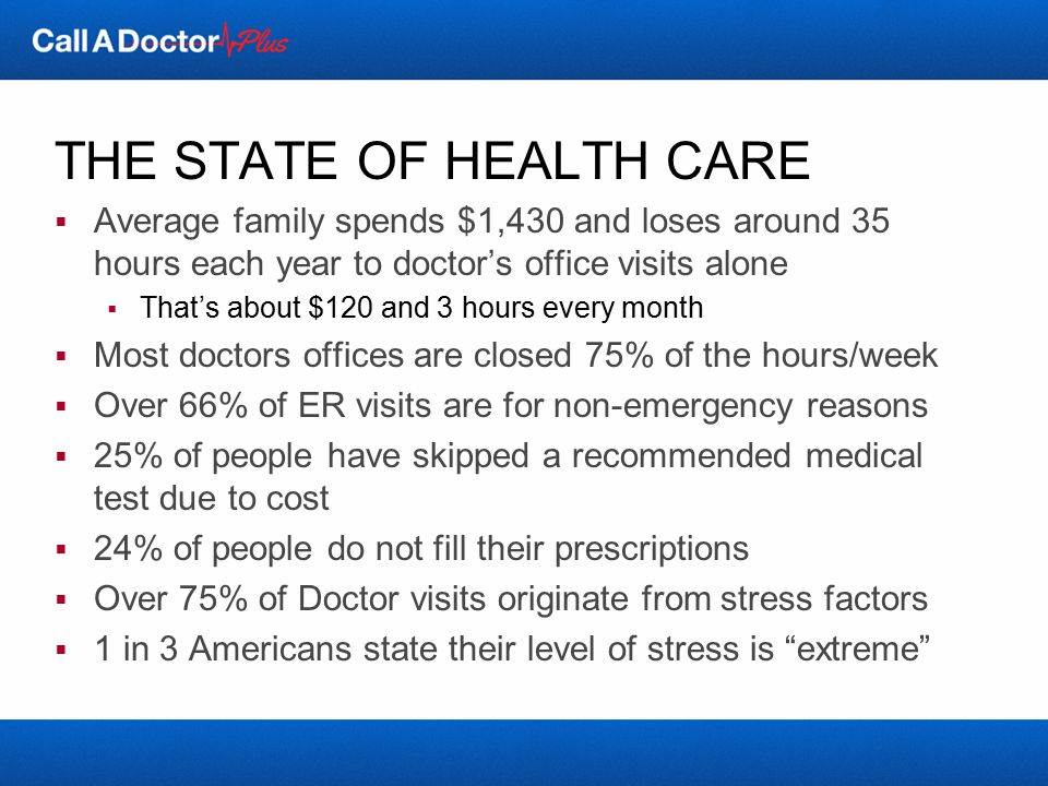 THE BOTTOM LINE…  Getting well has become extremely inconvenient  Difficult to meet face-to-face with a physician/specialist  Difficult to get a timely appointment  Can be difficult to actually get to the appointment  Additionally, it isn't cheap  ER and Urgent Care are frustrating and expensive options  Missing work can be a costly proposition  For most people, healthcare reform will inevitably lead to  Increased costs  Longer waits, shorter interactions  Increased stress levels