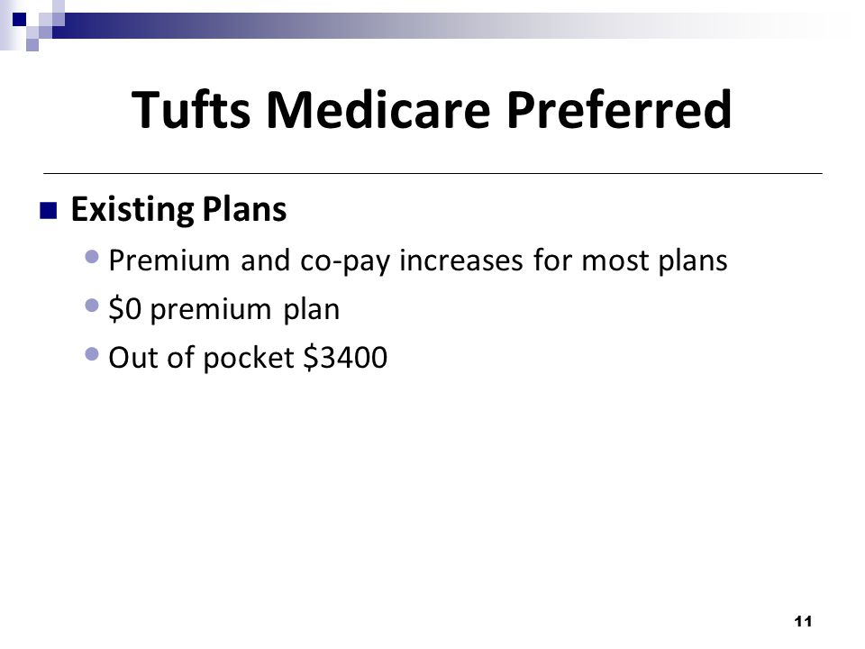 Tufts Medicare Preferred Existing Plans Premium and co-pay increases for most plans $0 premium plan Out of pocket $3400 11