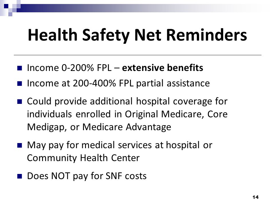 Health Safety Net Reminders Income 0-200% FPL – extensive benefits Income at 200-400% FPL partial assistance Could provide additional hospital coverage for individuals enrolled in Original Medicare, Core Medigap, or Medicare Advantage May pay for medical services at hospital or Community Health Center Does NOT pay for SNF costs 14