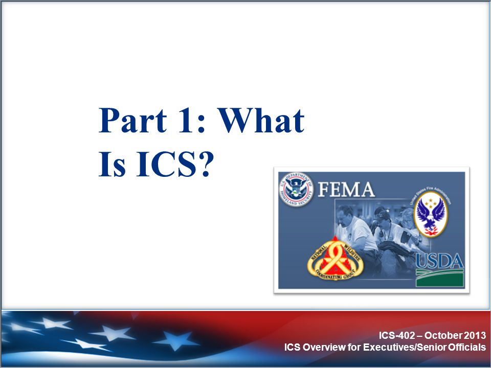 ICS-402 – October 2013 ICS Overview for Executives/Senior Officials Executives'/Senior Officials' Role & Responsibilities Executives/Senior Officials:  Provide policy guidance on priorities and objectives based on situational needs and the Emergency Plan.