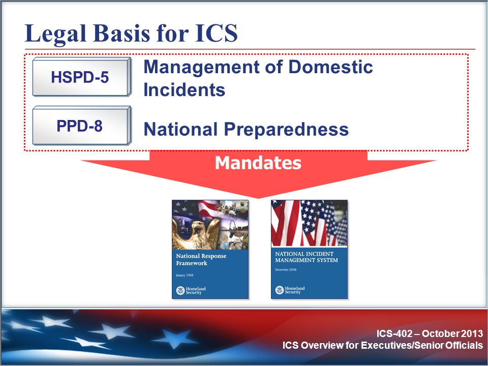 ICS-402 – October 2013 ICS Overview for Executives/Senior Officials Legal Basis for ICS Management of Domestic Incidents HSPD-5 PPD-8 National Prepare