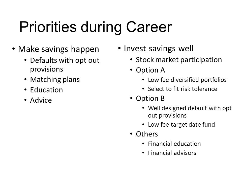 Priorities during Career Make savings happen Defaults with opt out provisions Matching plans Education Advice Invest savings well Stock market participation Option A Low fee diversified portfolios Select to fit risk tolerance Option B Well designed default with opt out provisions Low fee target date fund Others Financial education Financial advisors