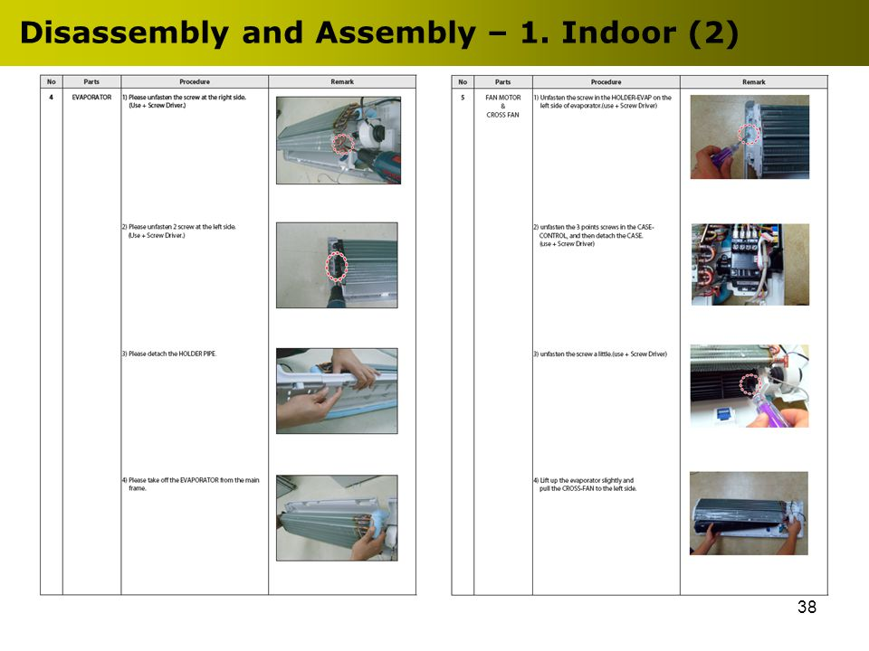 38 Disassembly and Assembly – 1. Indoor (2)