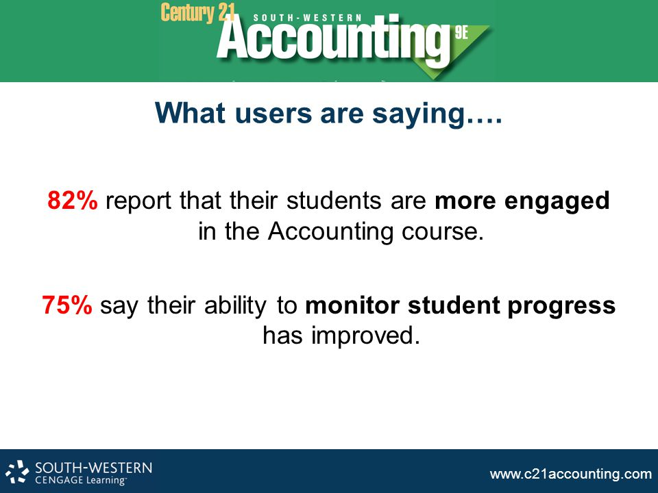 www.c21accounting.com What users are saying…. 82% report that their students are more engaged in the Accounting course. 75% say their ability to monit