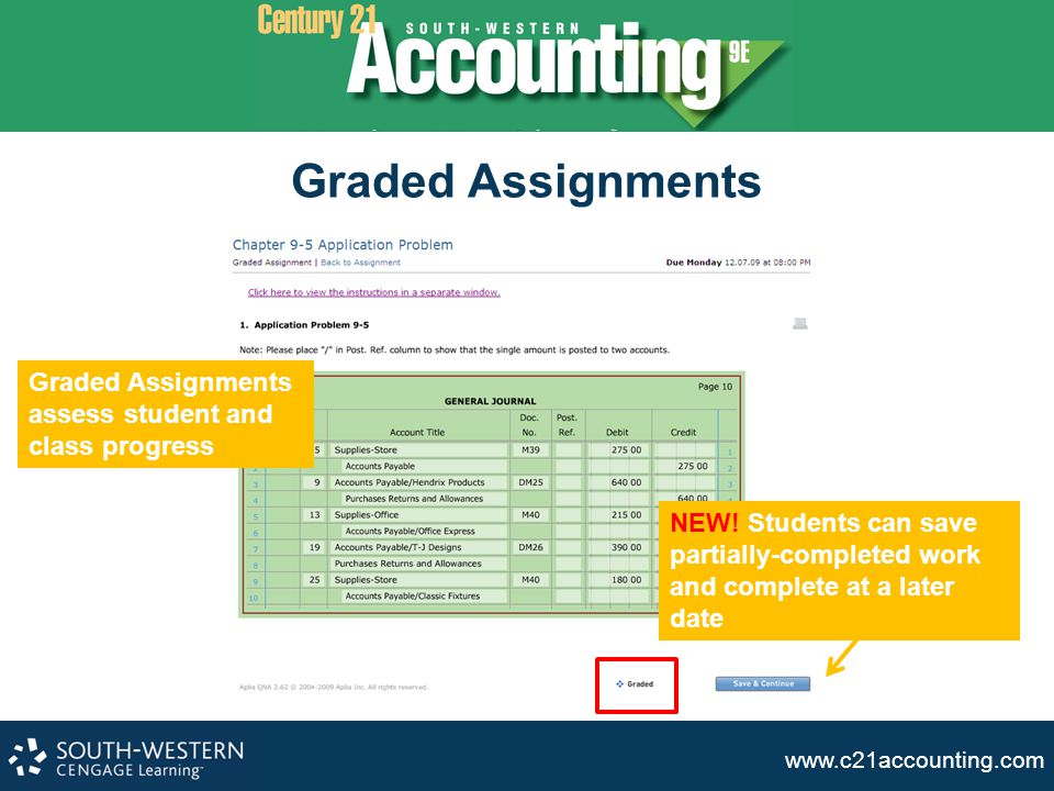www.c21accounting.com Graded Assignments assess student and class progress NEW! Students can save partially-completed work and complete at a later dat