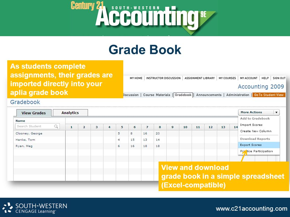 www.c21accounting.com Grade Book As students complete assignments, their grades are imported directly into your aplia grade book View and download gra