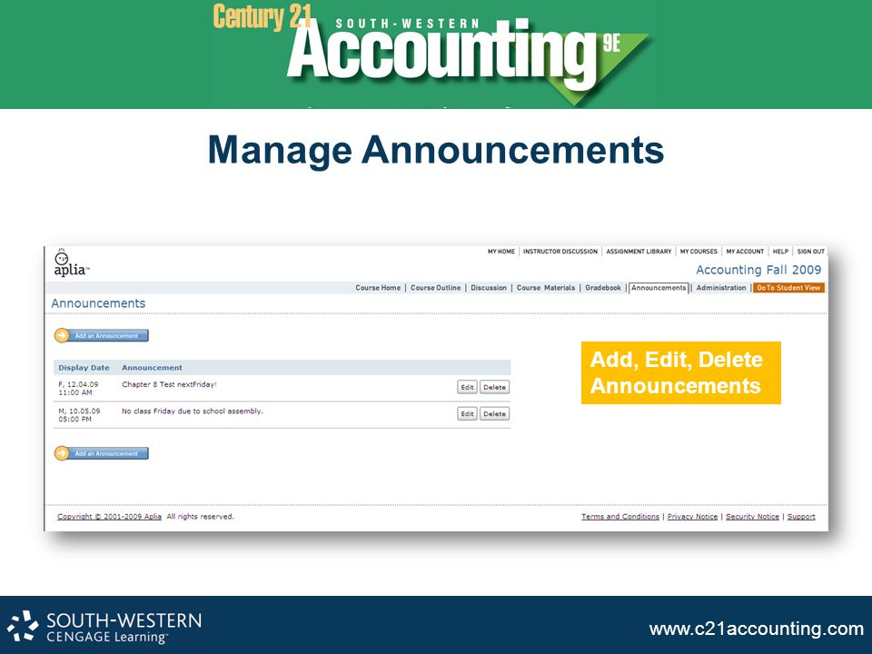 www.c21accounting.com Manage Announcements Add, Edit, Delete Announcements