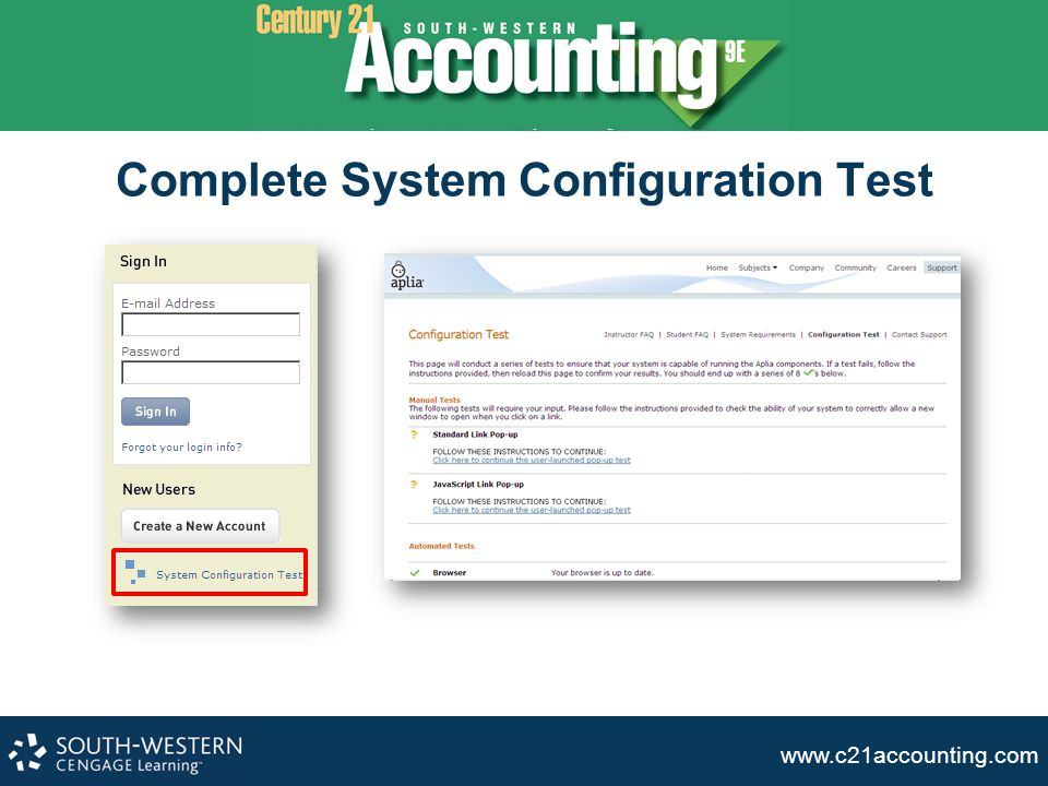 www.c21accounting.com Complete System Configuration Test