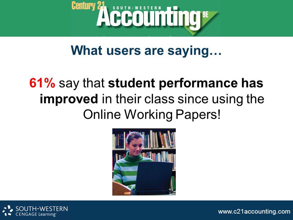 www.c21accounting.com Students Receive Immediate Feedback C HECKED PROBLEM.