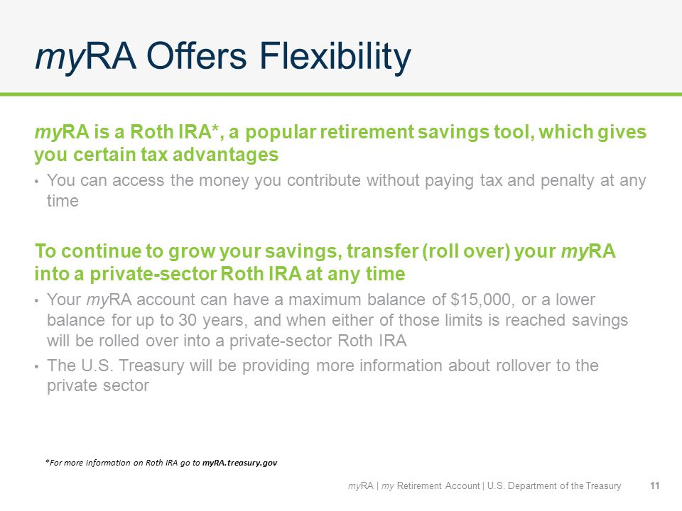 myRA Offers Flexibility myRA is a Roth IRA*, a popular retirement savings tool, which gives you certain tax advantages You can access the money you contribute without paying tax and penalty at any time To continue to grow your savings, transfer (roll over) your myRA into a private-sector Roth IRA at any time Your myRA account can have a maximum balance of $15,000, or a lower balance for up to 30 years, and when either of those limits is reached savings will be rolled over into a private-sector Roth IRA The U.S.