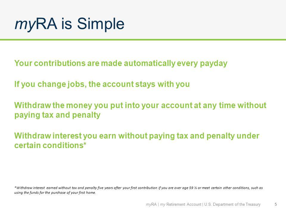 Questions? 16myRA   my Retirement Account   U.S. Department of the Treasury