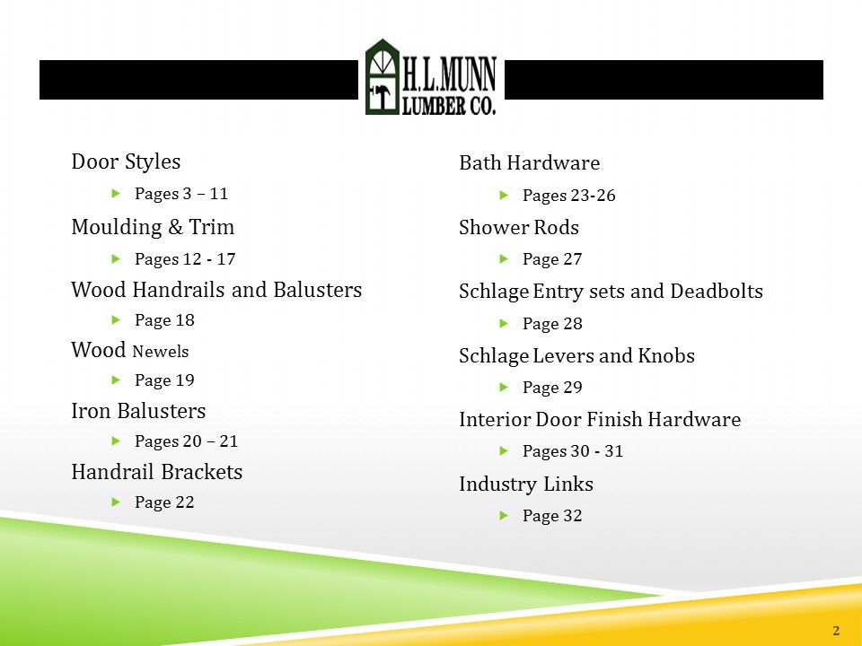 2 Door Styles  Pages 3 – 11 Moulding & Trim  Pages 12 - 17 Wood Handrails and Balusters  Page 18 Wood Newels  Page 19 Iron Balusters  Pages 20 – 21 Handrail Brackets  Page 22 Bath Hardware  Pages 23-26 Shower Rods  Page 27 Schlage Entry sets and Deadbolts  Page 28 Schlage Levers and Knobs  Page 29 Interior Door Finish Hardware  Pages 30 - 31 Industry Links  Page 32