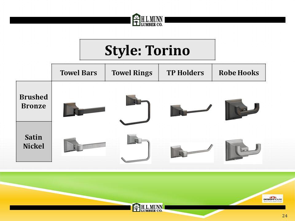 Towel BarsTowel RingsTP HoldersRobe Hooks Brushed Bronze Satin Nickel Style: Torino 24