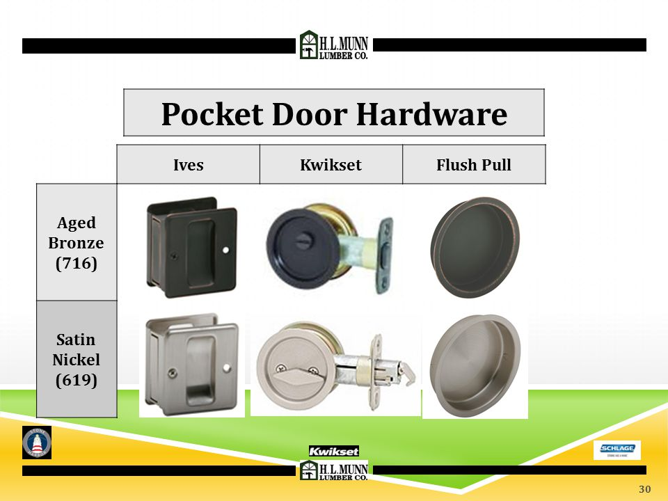 IvesKwiksetFlush Pull Aged Bronze (716) Satin Nickel (619) Pocket Door Hardware 30