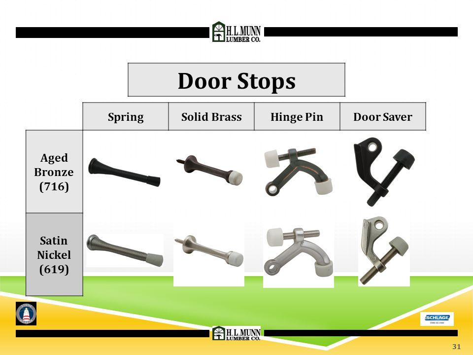 SpringSolid BrassHinge PinDoor Saver Door Stops Aged Bronze (716) Satin Nickel (619) 31