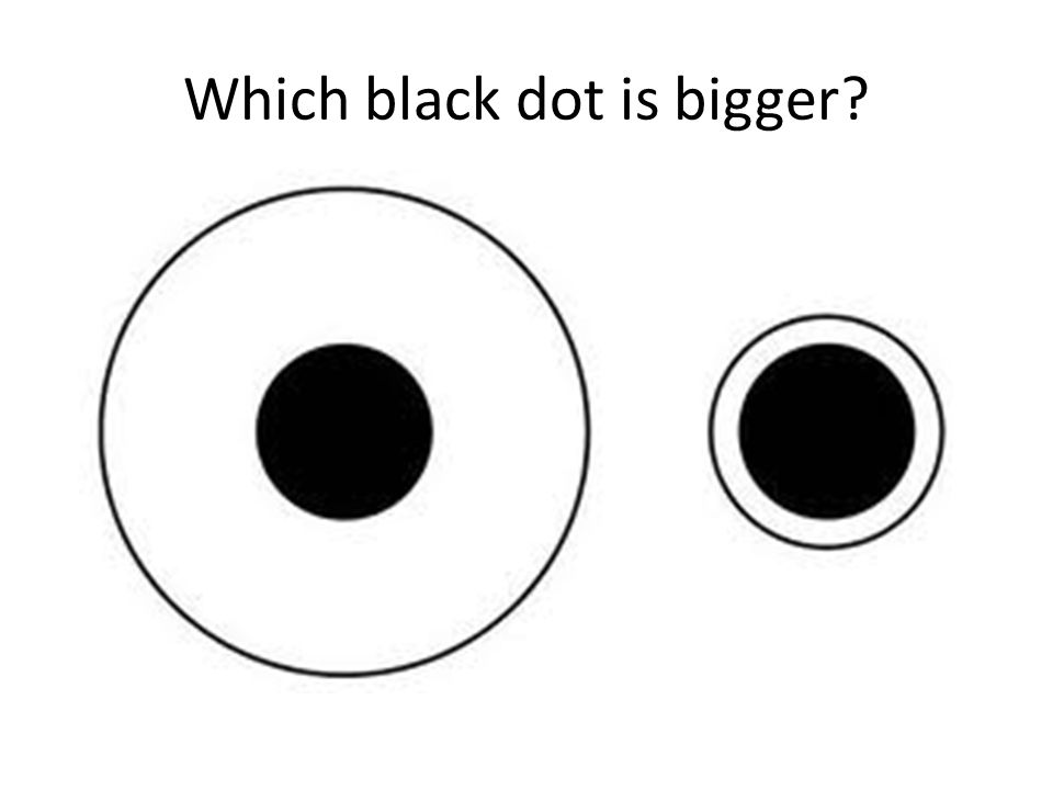 Which black dot is bigger?
