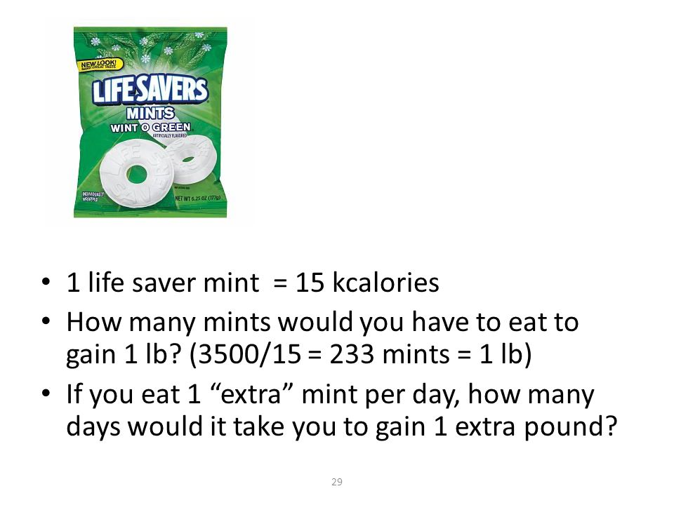 1 life saver mint = 15 kcalories How many mints would you have to eat to gain 1 lb.