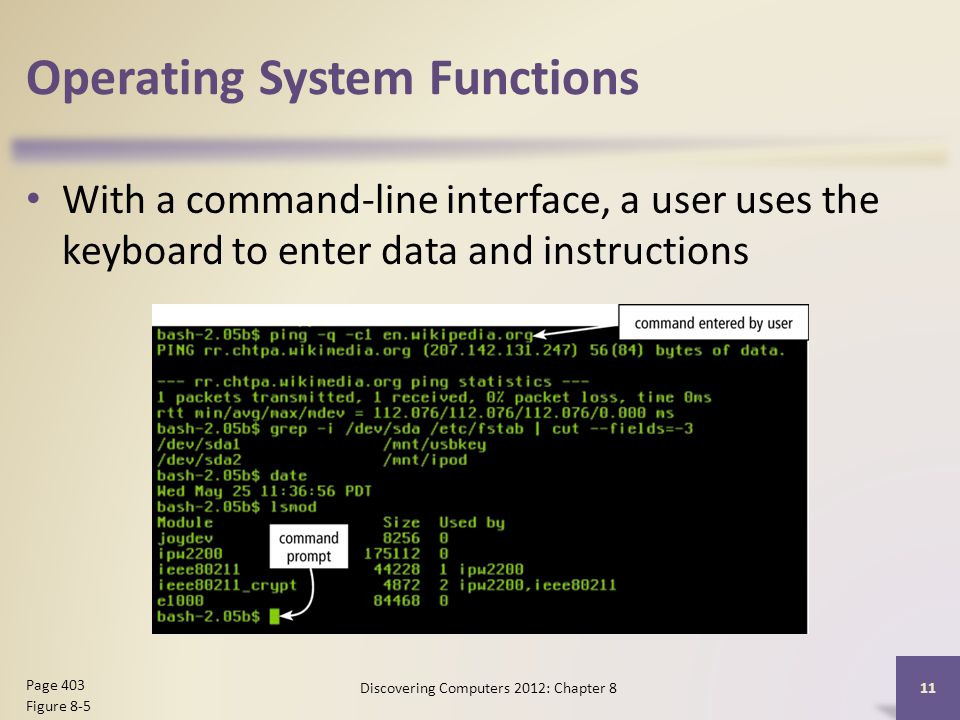 Operating System Functions With a command-line interface, a user uses the keyboard to enter data and instructions Discovering Computers 2012: Chapter 8 11 Page 403 Figure 8-5