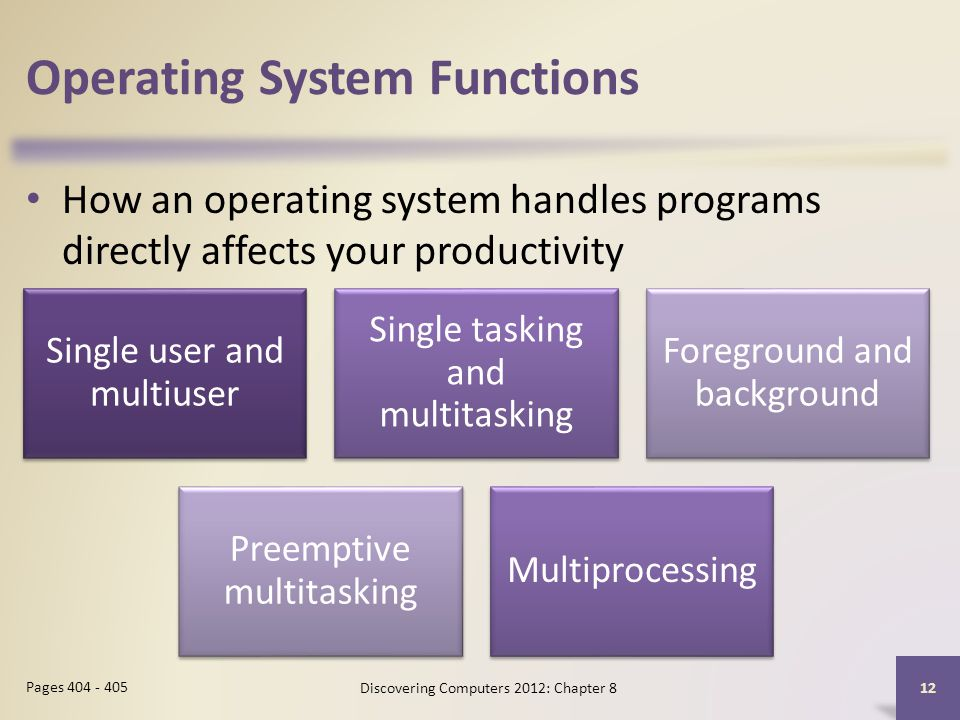 Operating System Functions How an operating system handles programs directly affects your productivity Discovering Computers 2012: Chapter 8 12 Pages 404 - 405 Single user and multiuser Single tasking and multitasking Foreground and background Preemptive multitasking Multiprocessing