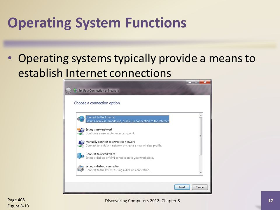 Operating System Functions Operating systems typically provide a means to establish Internet connections Discovering Computers 2012: Chapter 8 17 Page 408 Figure 8-10
