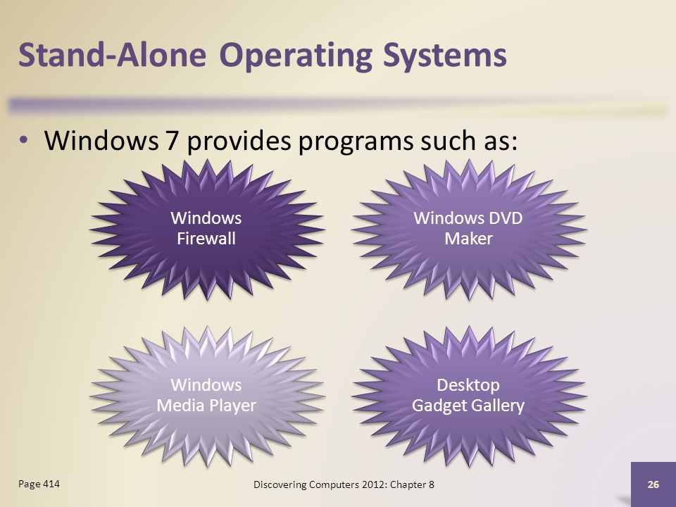 Stand-Alone Operating Systems Windows 7 provides programs such as: Discovering Computers 2012: Chapter 8 26 Page 414 Windows Firewall Windows DVD Maker Windows Media Player Desktop Gadget Gallery