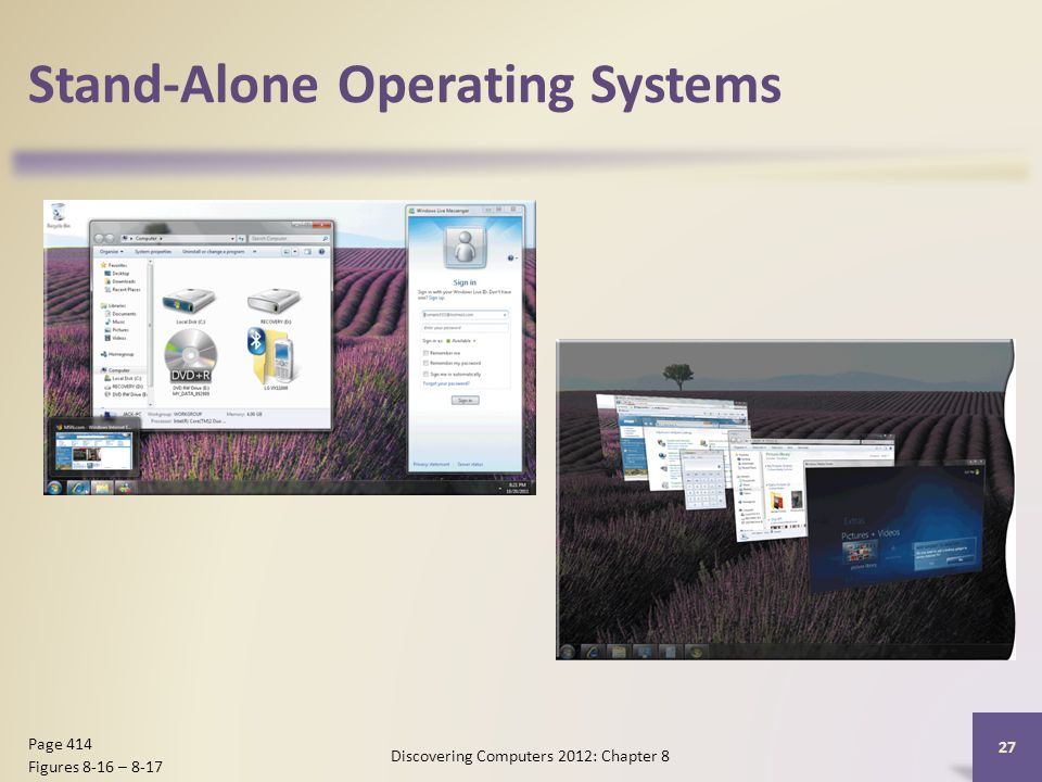 Stand-Alone Operating Systems Discovering Computers 2012: Chapter 8 27 Page 414 Figures 8-16 – 8-17