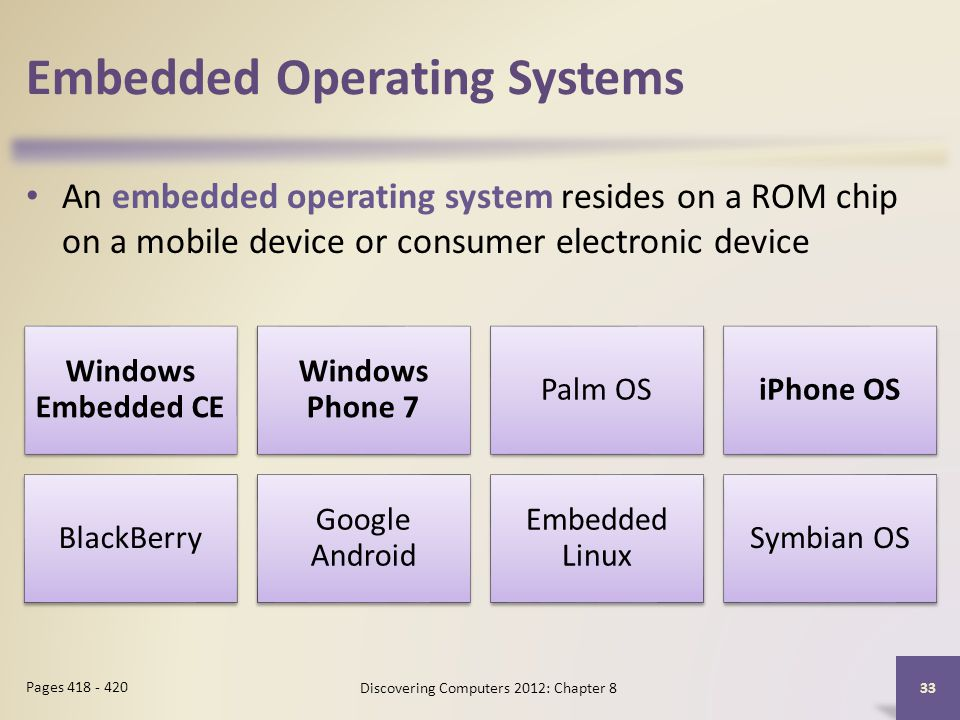 Embedded Operating Systems An embedded operating system resides on a ROM chip on a mobile device or consumer electronic device Discovering Computers 2012: Chapter 8 33 Pages 418 - 420 Windows Embedded CE Windows Phone 7 Palm OSiPhone OS BlackBerry Google Android Embedded Linux Symbian OS