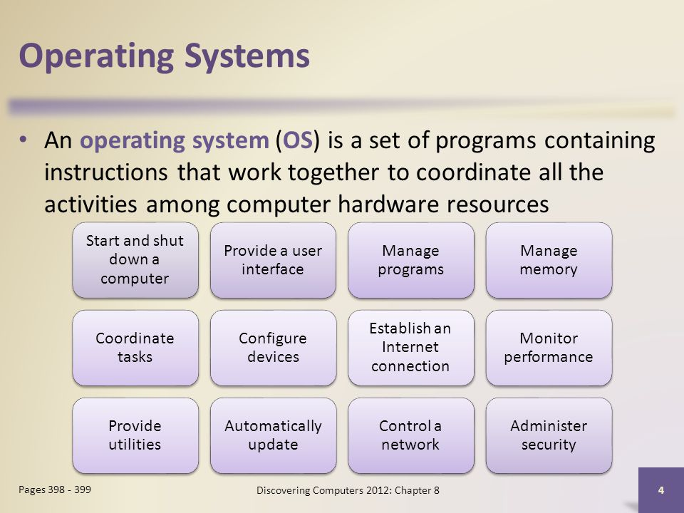 Operating Systems An operating system (OS) is a set of programs containing instructions that work together to coordinate all the activities among computer hardware resources Discovering Computers 2012: Chapter 8 4 Pages 398 - 399 Start and shut down a computer Provide a user interface Manage programs Manage memory Coordinate tasks Configure devices Establish an Internet connection Monitor performance Provide utilities Automatically update Control a network Administer security