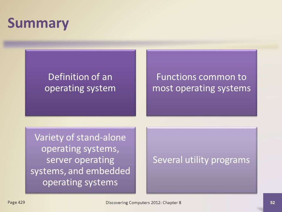 Summary Definition of an operating system Functions common to most operating systems Variety of stand-alone operating systems, server operating systems, and embedded operating systems Several utility programs Discovering Computers 2012: Chapter 8 52 Page 429