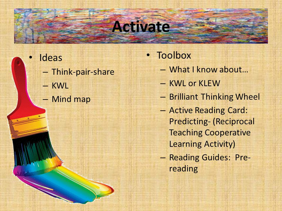 Activate Ideas – Think-pair-share – KWL – Mind map Toolbox – What I know about… – KWL or KLEW – Brilliant Thinking Wheel – Active Reading Card: Predicting- (Reciprocal Teaching Cooperative Learning Activity) – Reading Guides: Pre- reading