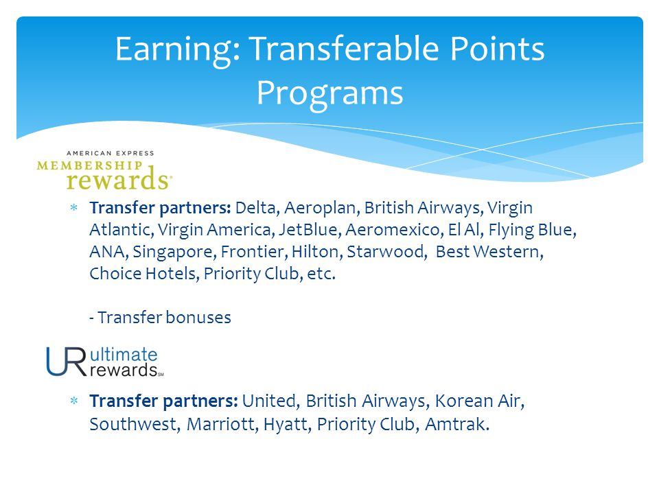  Transfer partners: Delta, Aeroplan, British Airways, Virgin Atlantic, Virgin America, JetBlue, Aeromexico, El Al, Flying Blue, ANA, Singapore, Frontier, Hilton, Starwood, Best Western, Choice Hotels, Priority Club, etc.
