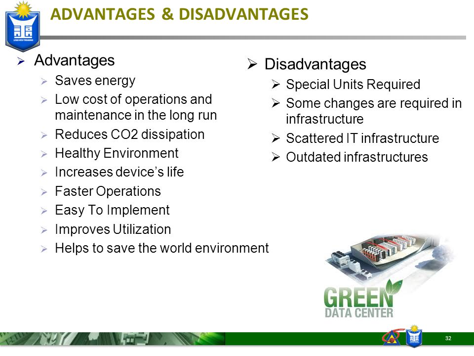 ADVANTAGES & DISADVANTAGES  Advantages  Saves energy  Low cost of operations and maintenance in the long run  Reduces CO2 dissipation  Healthy En