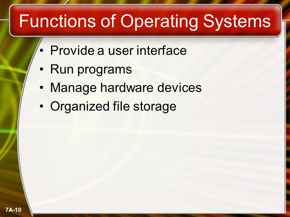 7A-10 Functions of Operating Systems Provide a user interface Run programs Manage hardware devices Organized file storage