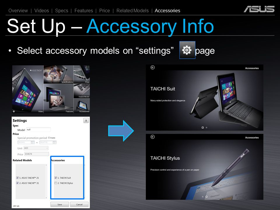 """Set Up – Accessory Info Overview 